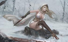 Картинка лес, взгляд, девушка, кровь, тело, Зима