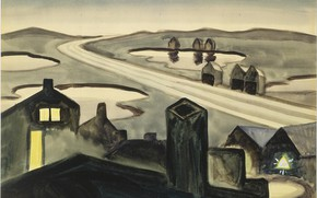 Картинка 1920, Charles Ephraim Burchfield, Railroad at Night