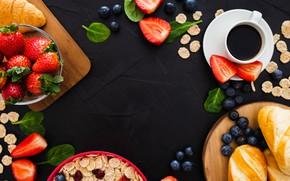 Картинка ягоды, фон, черный, кофе, завтрак, клубника, хлопья