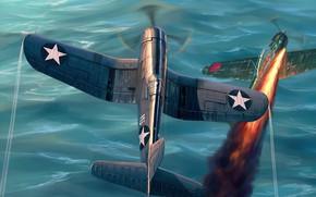 Картинка war, art, airplane, aviation, ww2, a6m zero, F4u Corsair