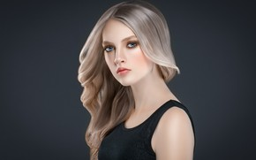 Картинка взгляд, лицо, поза, волосы, портрет, красота, платье, черное, плечи, длинные волосы, Blonde, mode, hairstyle, Ryabusjkina …