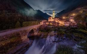Картинка пейзаж, горы, ночь, мост, природа, река, водопад, дома, Швейцария, долина, освещение, Альпы, деревушка, Lavertezzo, Лавертеццо, …