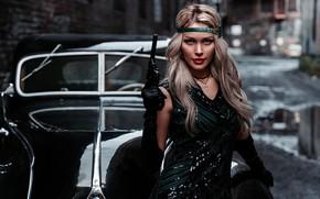 Картинка машина, авто, девушка, поза, стиль, ретро, пистолет, оружие, ситуация, блондинка, Альбина Пономарёва