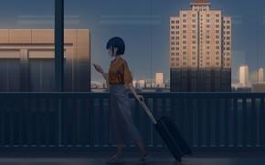 Картинка девушка, город, вечер