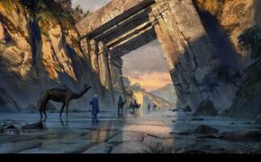 Картинка путь, скалы, врата, караван, Old Gate