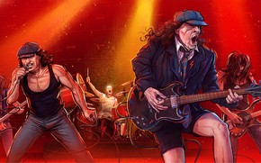 Обои Рисунок, Музыка, Игра, Rock, Арт, Рок, Michal Dziekan, AC/DC, Rock 'n' roll, by Michal Dziekan, ...
