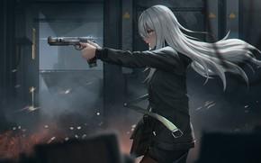 Картинка Девушка, Пистолет, Форма, Арт