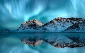 Картинка море, горы, Норвегия, Северное сияние