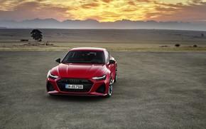 Картинка закат, Audi, вечер, вид спереди, Sportback, RS 7, RS7, 2020