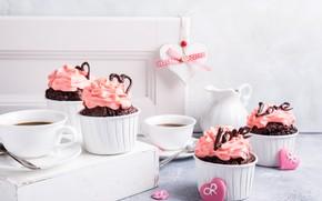 Картинка кофе, крем, шоколадные, капкейки, Iryna Melnyk