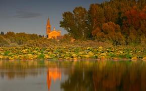 Картинка осень, деревья, озеро, Италия, церковь, Italy, Ломбардия, Lombardy, Озеро Верхнее, Lake Superior, Мантуя, Mantua, Lago …