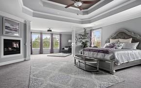 Картинка кровать, подушки, камин, спальня