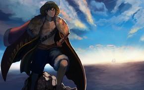 Картинка небо, шляпа, парень, One Piece
