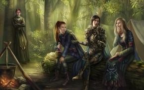 Картинка лес, девушки, парень, чан, костёр