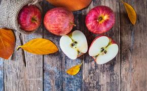 Картинка осень, листья, яблоки, wood, autumn, leaves, fruits, осенние, apples