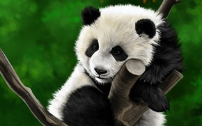 Картинка дерево, рисунок, панда