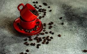 Картинка зерна, чашки, кофейные, блюдца