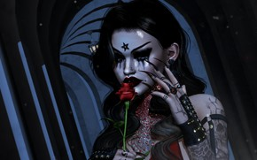 Картинка девушка, лицо, стиль, рендеринг, волосы, роза