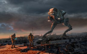 Картинка люди, апокалипсис, робот