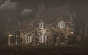 Картинка облака, пейзаж, ночь, природа, дом, рендеринг, забор, окна, дверь, фонари, домик, полумрак, сумерки, особняк, каменный, …