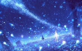 Картинка девушка, ночь, природа, свечение, фэнтези, млечный путь