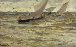 Картинка картина, парус, морской пейзаж, Хоакин Соролья, Joaquin Sorolla y Bastida, Лодки Покидающие Гавань. Астурия