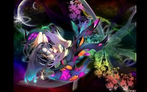 Картинка космос, сияние, планеты, девочка, черный фон, волшебница, невесомость, цветочный узор, длинные белые волосы, by Mali …