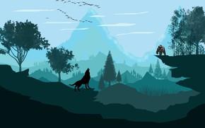 Картинка гора, волк, вектор, медведь