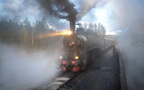 Картинка лес, свет, пейзаж, природа, парк, дым, рельсы, поезд, железная дорога, Карелия, Рускеала, Андрей Базанов