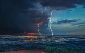 Картинка море, гроза, стихия