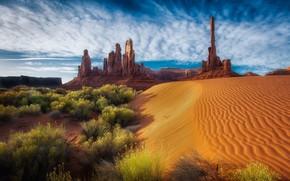 Картинка песок, небо, облака, природа, скалы, пустыня, США, кустарники, Долина монументов