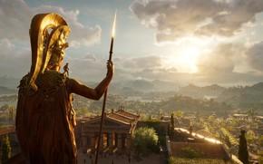 Картинка city, fantasy, game, trees, sunset, square, Ubisoft, people, Assassin's Creed, digital art, architecture, building, fantasy …