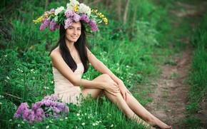 Картинка девушка, цветы, природа, поза, улыбка, весна, сирень, Sergey Shatskov