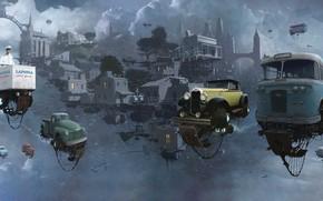 Картинка Небо, Авто, Рисунок, Город, Машина, Мир, City, World, Fantasy, Sky, Автомобиль, Арт, Art, Auto, Фантастика, ...