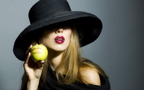 Картинка девушка, модель, apple, girl, шляпка