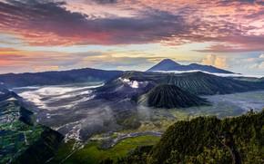 Картинка гора, Индонезия, панорама, вулкан Бромо