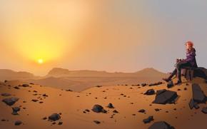 Картинка Закат, Солнце, Девушка, Пустыня, Girl, Sun, Sunset, Фантастика, Characters, Desert, Science Fiction, by James Daly, …
