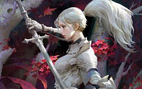 Картинка меч, рыцарь, голубые глаза, кленовые листья, в профиль, ствол дерева, женщина-воин, длинные белые волосы, доспехи …