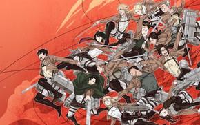 Картинка аниме, арт, красный фон, Shingeki no Kyojin, Атака титанов, Вторжение гигантов