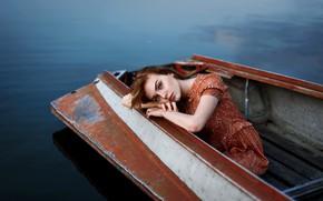 Картинка грусть, губки, девушка в лодке, Ульяна Найденкова