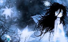 Картинка холод, ночь, туман, одиночество, страх, малышка, Berserk, Берсерк, большие глаза, растрепанные волосы