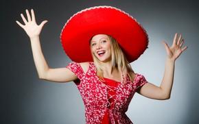 Картинка взгляд, девушка, радость, поза, улыбка, фон, настроение, танец, шляпа, макияж, платье, прическа, блондинка, в красном, …