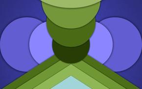 Картинка круги, цветные, треугольники, слои