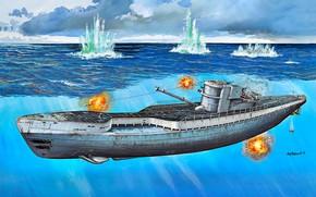 Картинка Подводная лодка, Немецкая, типа, дизельная, времен Второй Мировой войны, IXC/40, U-190