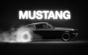 Картинка Mustang, Ford, Авто, Черный, Рисунок, Дым, Неон, Машина, Car, Арт, Driver, Illustration, Concept Art, Animation, …
