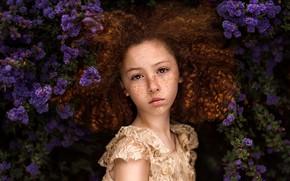 Картинка девочка, веснушки, кудряшки, цветение, Paulina Stalij-Duczman