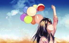 Картинка девушка, шарики, Tamako Market, Namako Love Stori, Тамако