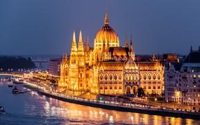 Картинка ночь, город, река, здания, дома, освещение, Парламент, Венгрия, Будапешт, Дунай