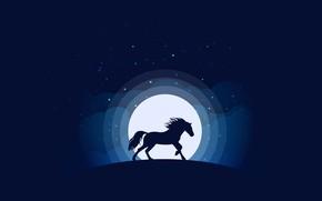Картинка moon, minimalism, clouds, stars, animal, blue background, digital art, artwork, silhouette, Horse, simple background