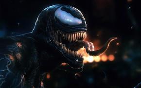 Картинка язык, ночь, огни, Веном, Venom, симбиот